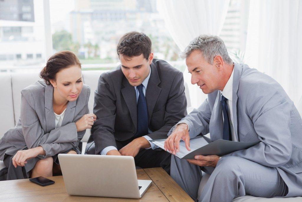 Company workforce having a meeting