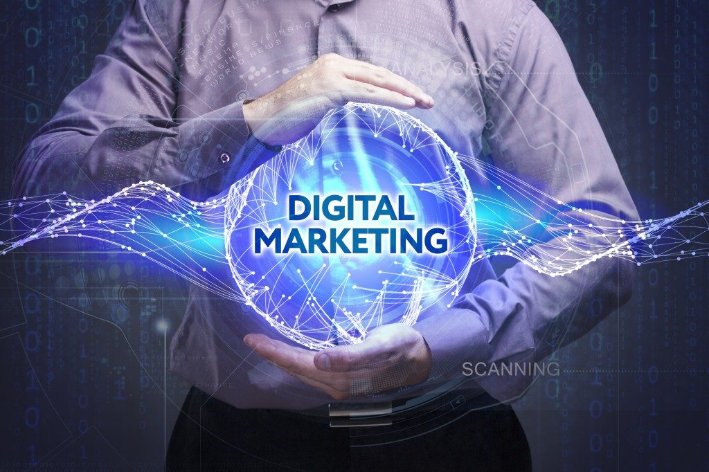 businessman with digital marketing illustration