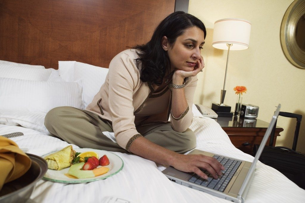 businesswoman working in a hotel