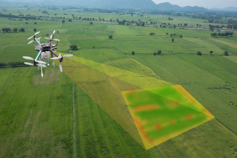 smart farmer use drone for various fields like research analysis
