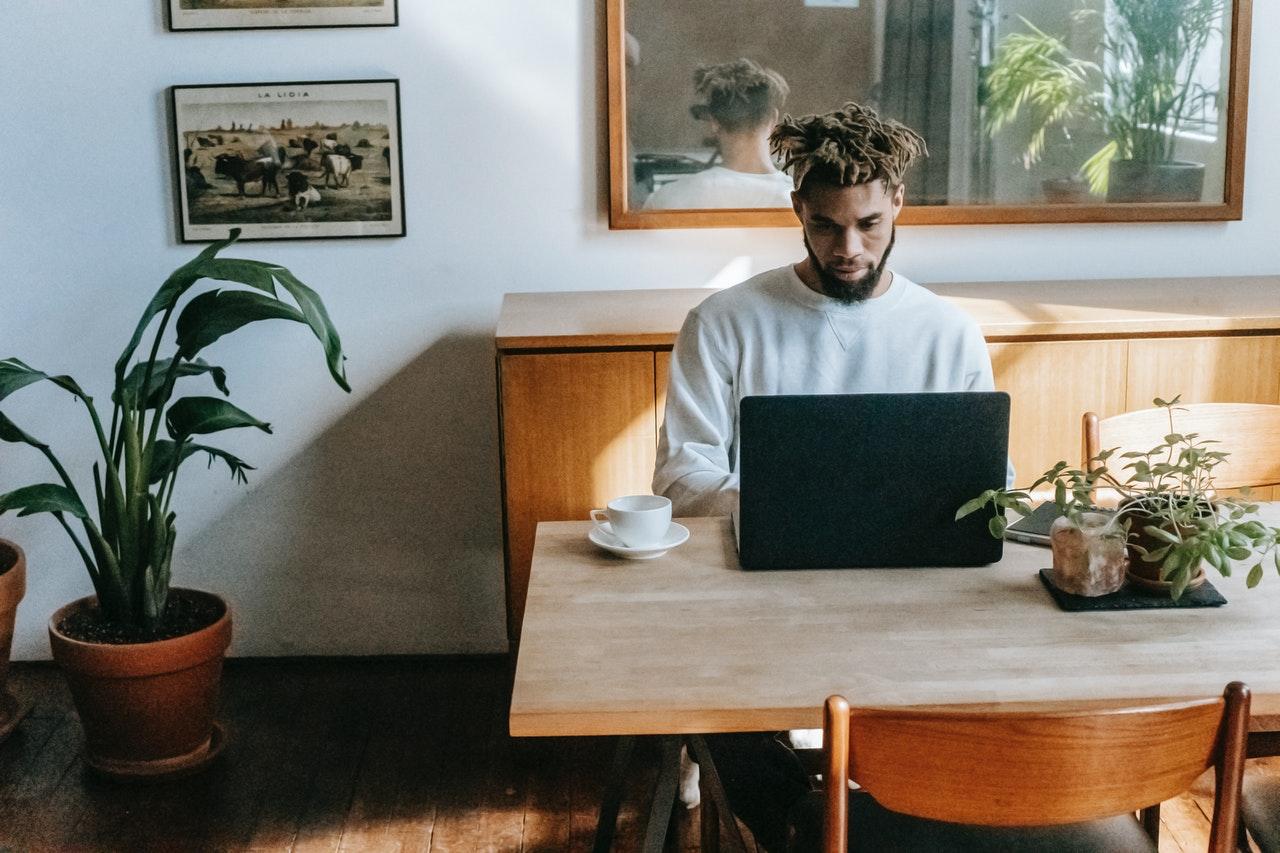 man browsing the web
