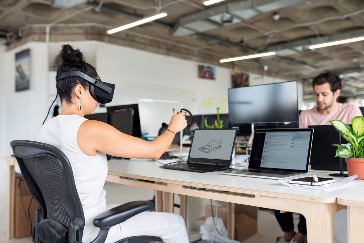 woman using VR at work