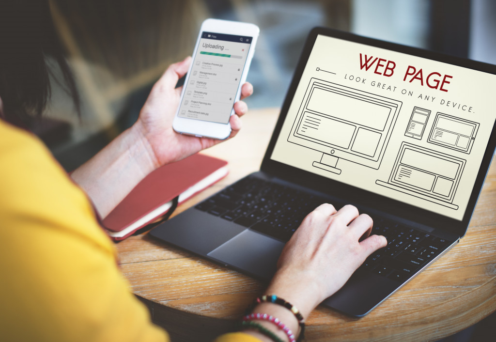 woman creating a website